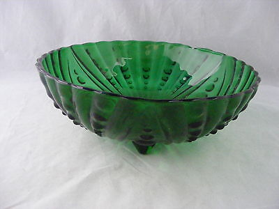 """Footed Green Depression Glass Bowl 8.5"""" x 2 7/8""""  Mint Condition"""