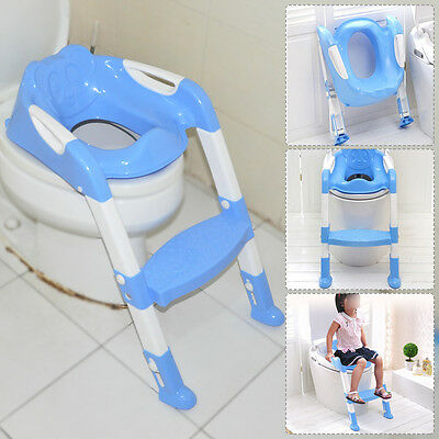 Blue Foldable Kid Children Babies Toddlers Toilet Potty Trainer Seat With Ladder