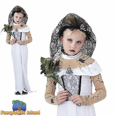 KIDS HALLOWEEN SCARY ZOMBIE BRIDE - Age 3-13- Girls Childs Fancy Dress Costume