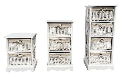Shabby Chic White 2, 3 or 4 Chest of Drawers Bedside Table Storage Unit Cabinet