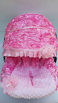 infant car seat cover canopy cover set fit most seat 3D baby Pink rosy minne dot