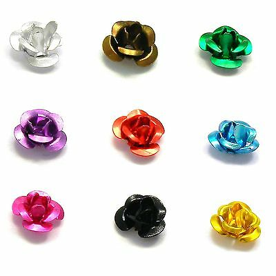 Lot of 100 Aluminum 6mm x 4mm Rose Bud Shaped Metal Flower Beads w/ Center Hole