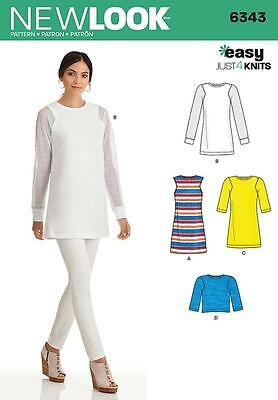 NEW LOOK SEWING PATTERN Misses' Knit Tunic in Two Lengths Top SIZE 6 - 18 6343