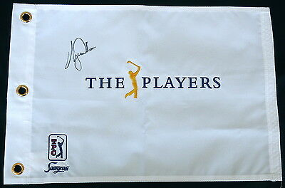 Tiger Woods Autographed The Players Championship Golf Flag W/ Proof! - Psa/dna!