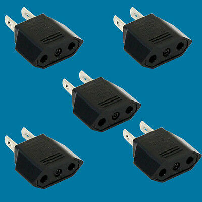 5pack Euro to US wall Jack Power converter for traveling 2 prong EU To US Europe