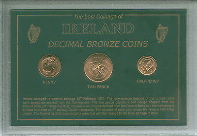 Ireland Eire Irish History Decimal Pre-Euro Bronze Retro Coin Display Gift Set
