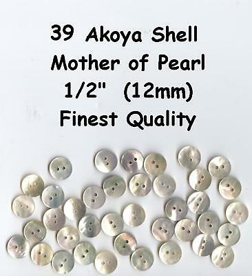 """39 Akoya Shell Mother of Pearl 1/2"""" Buttons MOP 12mm Premium Quality & Thickness"""