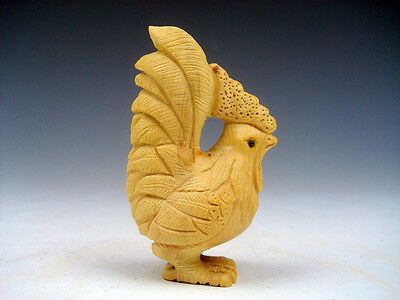 Japanese Boxwood Hand Carved Netsuke Sculpture Big Tail Rooster Chicken #080915