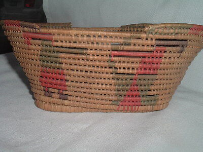 Vintage Southwest Small Oval Tightly Woven Basket with Animal Figures