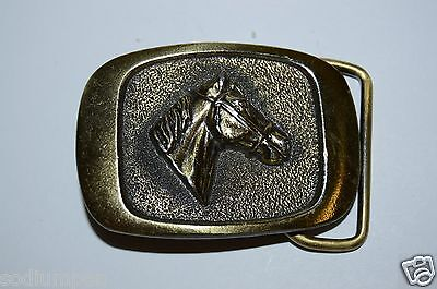 WOW 1983 Vintage Small Women's / Child's Equestrian Horse Head Belt Buckle Rare