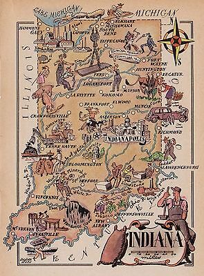 1950s Vintage INDIANA Map Print Pigs Indians Cowboy Industry Picture Map 1891