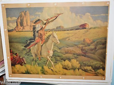 The Meeting of the Chiefs Santa Fe Railroad Poster 1949 Marion Iowa Station