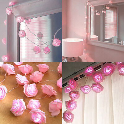 Battery operated rose flower fairy light 20 led wedding garden party battery operated 20led pink rose flower fairy light garden wedding bedroom decor mightylinksfo