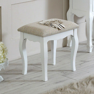 White wooden padded dressing table stool shabby french chic bedroom furniture