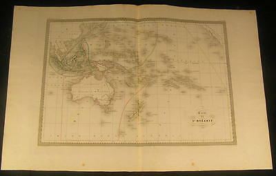 Oceania Polynesia Australia New Zealand Hawaii 1846 antique engraved color map