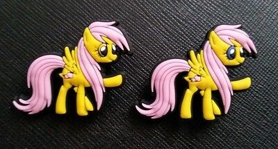 2 x My Little Pony Fluttershy Croc Shoe Charms Jibbitz Crocs Wristbands