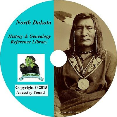 28 old books NORTH DAKOTA -  History & Genealogy - ND Families County  DVD