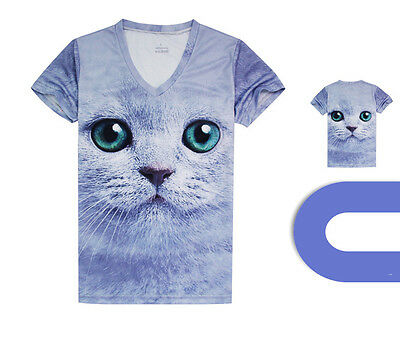 Cat face Sports Quick-drying Cycling Bike Jersey V-Neck Top T-Shirt Tee CC3106