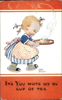 Mabel Lucie Attwell - Little Girl Serving Tea Postcard