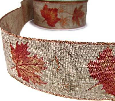 """5 Yds Autumn Fall Copper Glitter Foliage Leaves Wired Ribbon 2 1//2/""""W"""