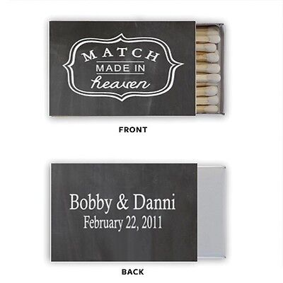 Wedding Chalkboard Match Box Labels Personalized Custom