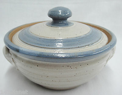 Pottery Stoneware Covered Casserole White with Blue Bands Small Size