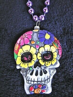 "MEXICAN ""DAY of the DEAD"" PAINTED FLOWERED SKULL MARDI GRAS NECKLACE BEAD (B187)"