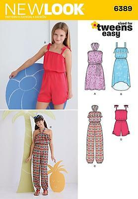 NEW LOOK SEWING PATTERN Girls Easy Jumpsuit, Romper and Dresses SIZE 8 - 16 6389