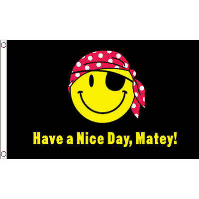 Have a Nice Day Matey Flag 5 x 3 FT - 100% Polyester With Eyelets Banner Pirate