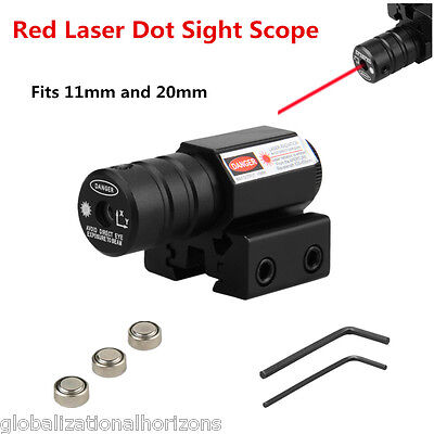 Tactical Red Laser Dot Sight Scope+Air Rifle Pistol 11mm 20mm Rail Mount Hunting