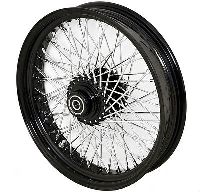 "18 x3.5"" WIDE BLACK CUSTOM FRONT WHEEL 80 SMOOTH SPOKES HARLEY FATBOY ROAD KING"