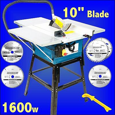 Silverline 1600W Table Saw 254mm & blades circular rip bench 10 blade woodwork