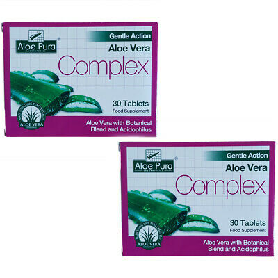 Aloe Pura Gentle Action Aloe Vera Colon Cleanse 2x 30 Tablets TWIN PACK