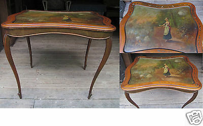 Antique Wood French Italian Hand Painted Scenic Inlaid End Side Tea Card Table