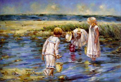 Kids Picking Clams, Quality Hand Painted Oil Painting 24x36in