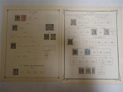 Lot of 2 Antique St. Lucia Postage Stamps 1883-1898 On Page - Make an Offer