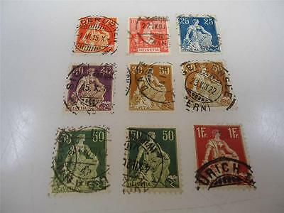 Antique Official Switzerland 1907-1908 Stamps Collection Lot of 9