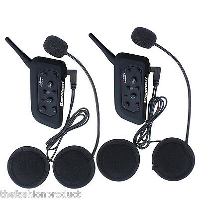 2x PC 1200M BT Moto Interfono Intercomunicador Interphone Bluetooth Auriculares