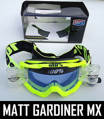 100% Percent Accuri Mx Motocross Goggles Yellow Blue Tint Lens Smith Roll Offs