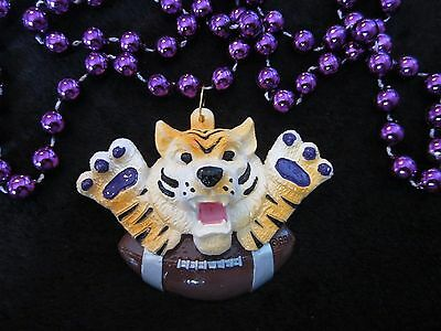 """""""TOUCHDOWN MIKE the TIGER"""" MARDI GRAS PURPLE NECKLACE BEAD LSU TD FOOTBALL(B134)"""