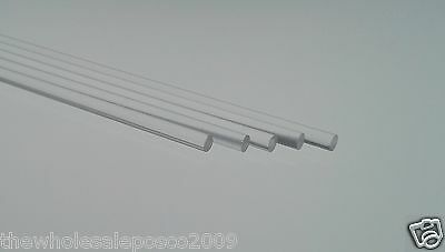 "8 x CLEAR ACRYLIC WEDDING CAKE DOWEL ROD 12"" LONG HIGH QUALITY FOOD SAFE PERSPEX"