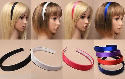 PACK OF 4 / 6 SATIN 2cm ALICE BANDS, HEAD BAND, SCHOOL, WORK, DANCE, GIRL, LADY