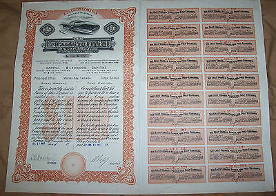Canada 1910 East Canada Power and Pulp Company Quebec $100 Uncancelled Deco coup