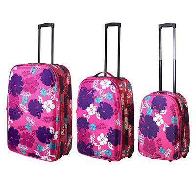 3 Teiliges Kofferset Trolley Reise Edles Pink Blumenmuster Koffer Nylon Color2