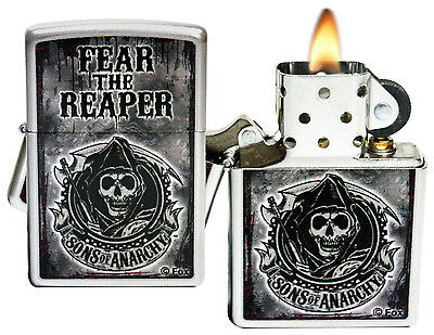 Zippo Lighter 28502 Sons Of Anarchy Fear The Reaper Satin Chrome Windproof NEW