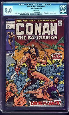 Conan The Barbarian #1,cgc 8.0,1970,white Pgs,excellent Centering,marvel Key!