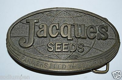 1977 Solid Vintage JACQUES Seeds Farmers Feed The World Brass Tone Belt Buckle
