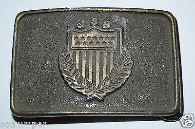 WOW Aged Vintage USA Flag Shield Crest Army Brass Tone Belt Buckle Rare
