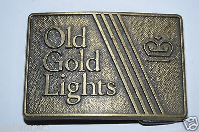 WOW Vintage Old Gold Lights Cigarettes Promo Brass Tone Trucker Belt Buckle Rare
