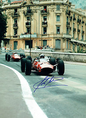 John SURTEES Autograph SIGNED Photo 16x12 Monte Carlo FERRARI AFTAL COA